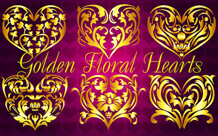 Golden Floral Hearts