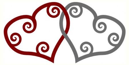 red silver maori hearts