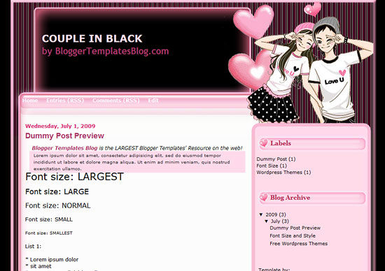 Couple in black Template