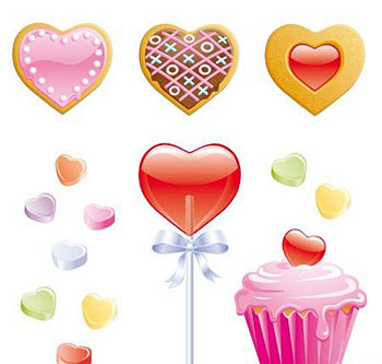 Cookies, candy hearts, lollipop and valentine cupcake