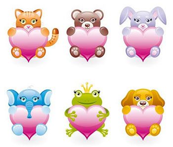 Stuffed animals icon set