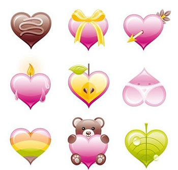 Valentine's hearts icon set
