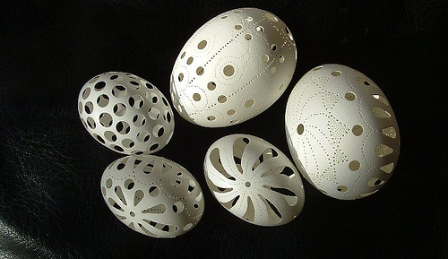 Carved Chicken Eggs and Dove Eggs