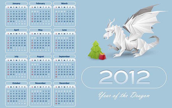 2012 Year Of The Dragon Calender