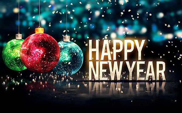 Happy New Year Ornaments HD Wallpaper