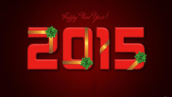 new year 2015 red background
