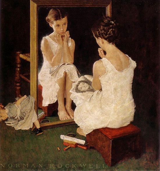 girl at mirror