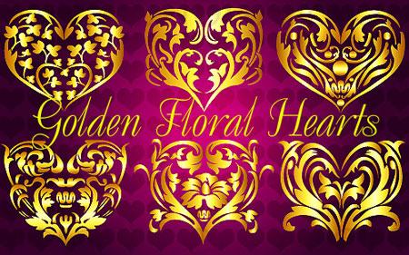 Golden Floral Hearts