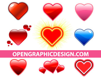 Glossy Hearts in Vector