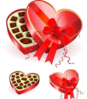 Heart shaped red chocolates box