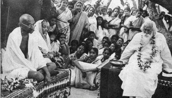 Tagore with Mr and Mrs Gandhi