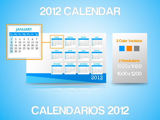 2012 Clean Calendars