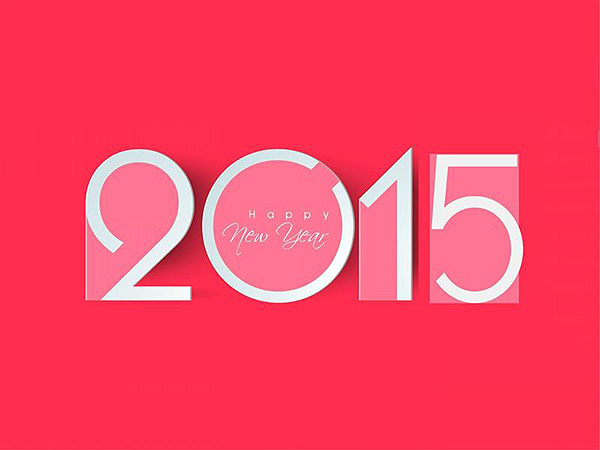 Popular Happy New Year 2015 in Pink Color Background HD Wallpaper