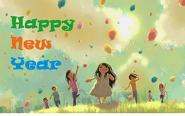 Happy New Year 2015 Kids Enjoying HD Wallpaper